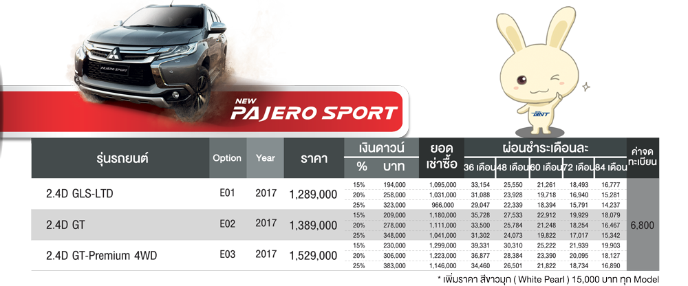 ตารางผ่อน Mitsubishi All new Pajero sport 2017